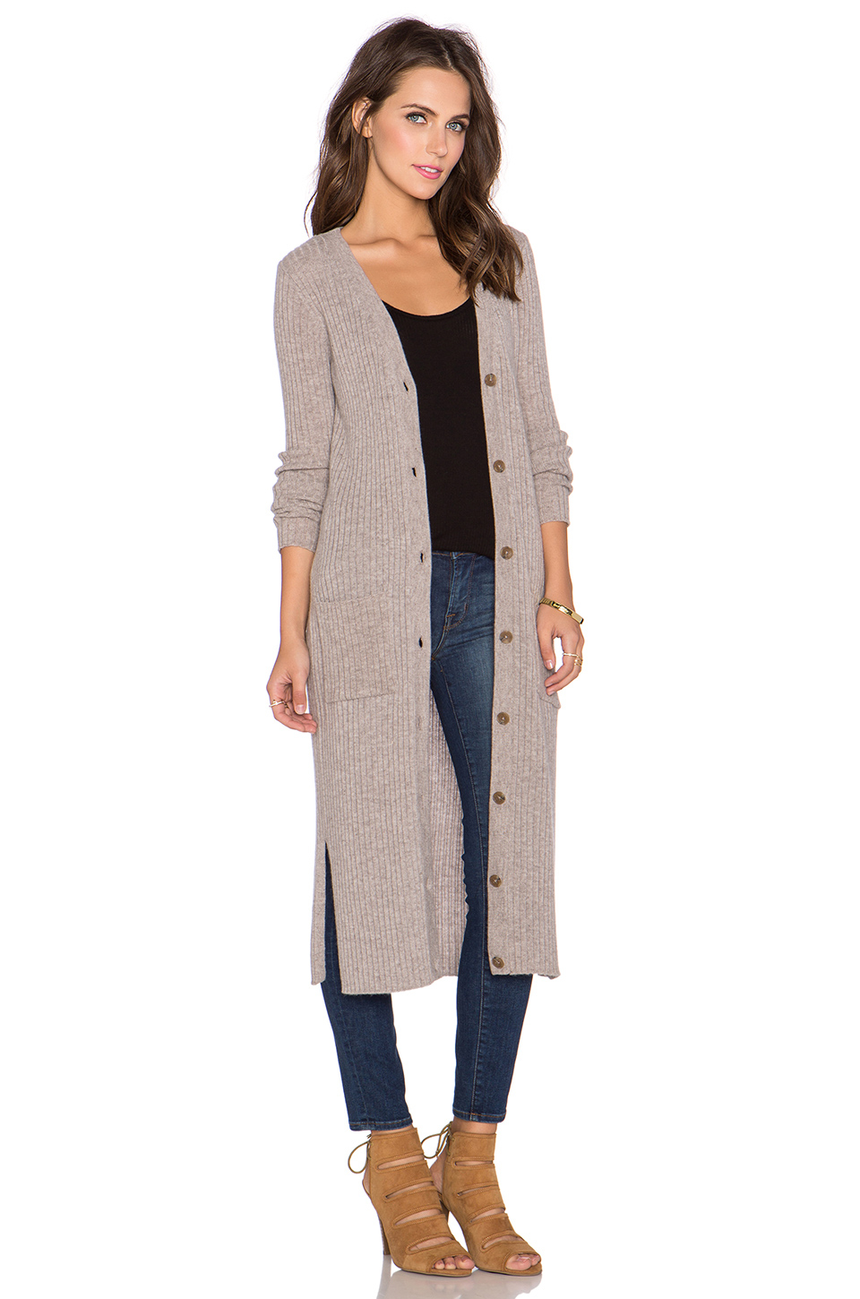 Autumn cashmere Ribbed Maxi Cardigan in Gray | Lyst