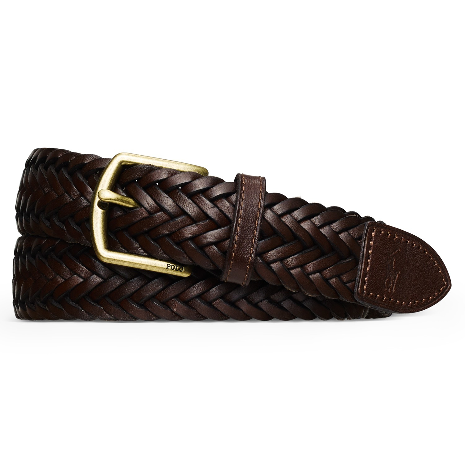 polo ralph woven leather belt in brown for lyst