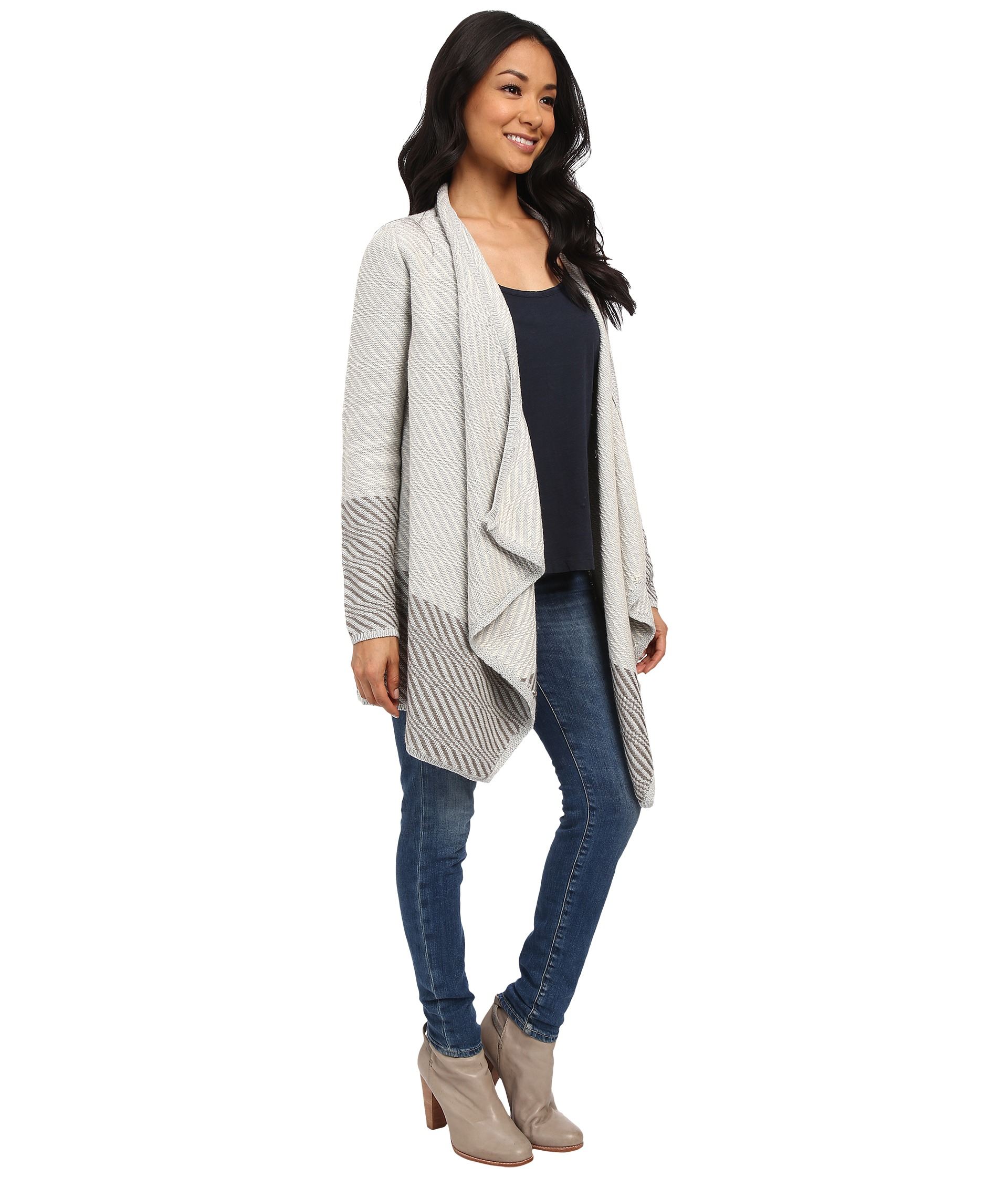 Lucky brand Waterfall Cardigan in Gray | Lyst