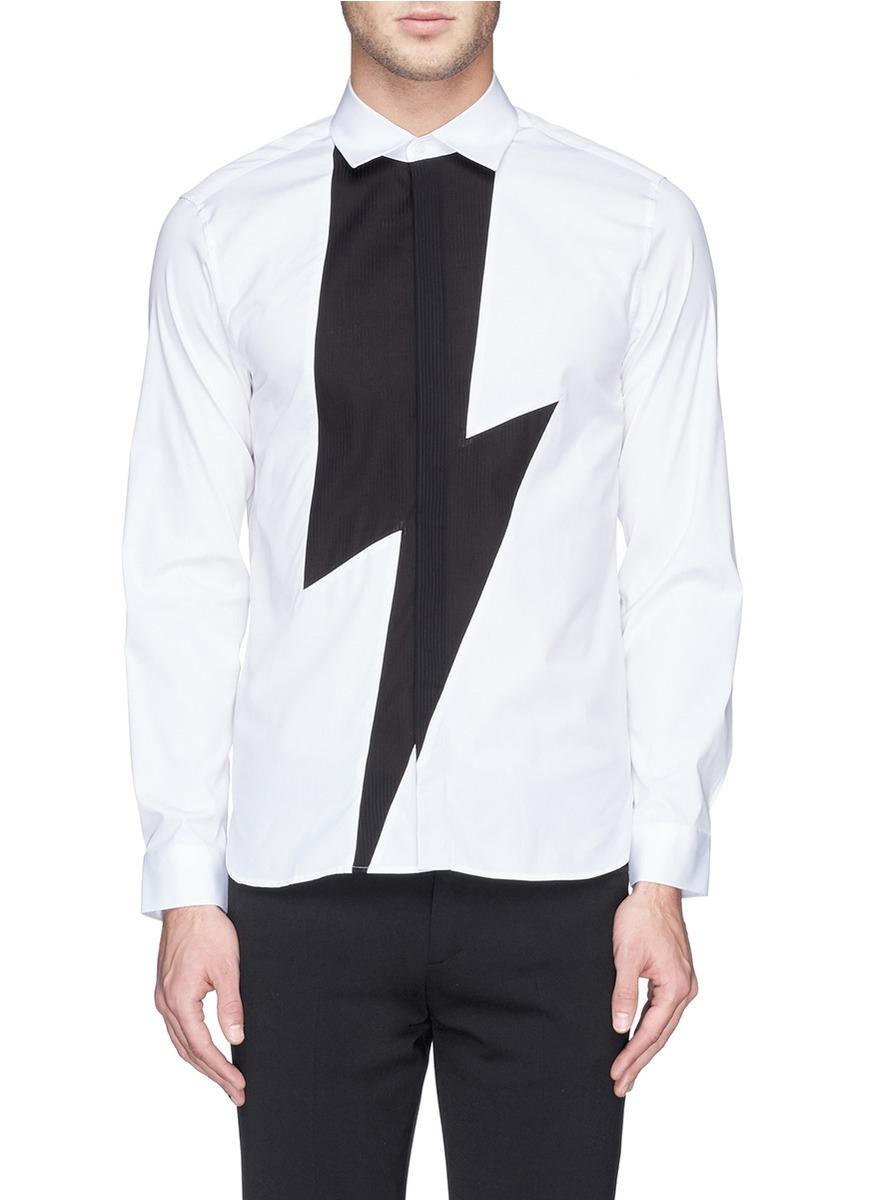 Lyst neil barrett contrast lightning bolt poplin tuxedo for Neil barrett tuxedo shirt