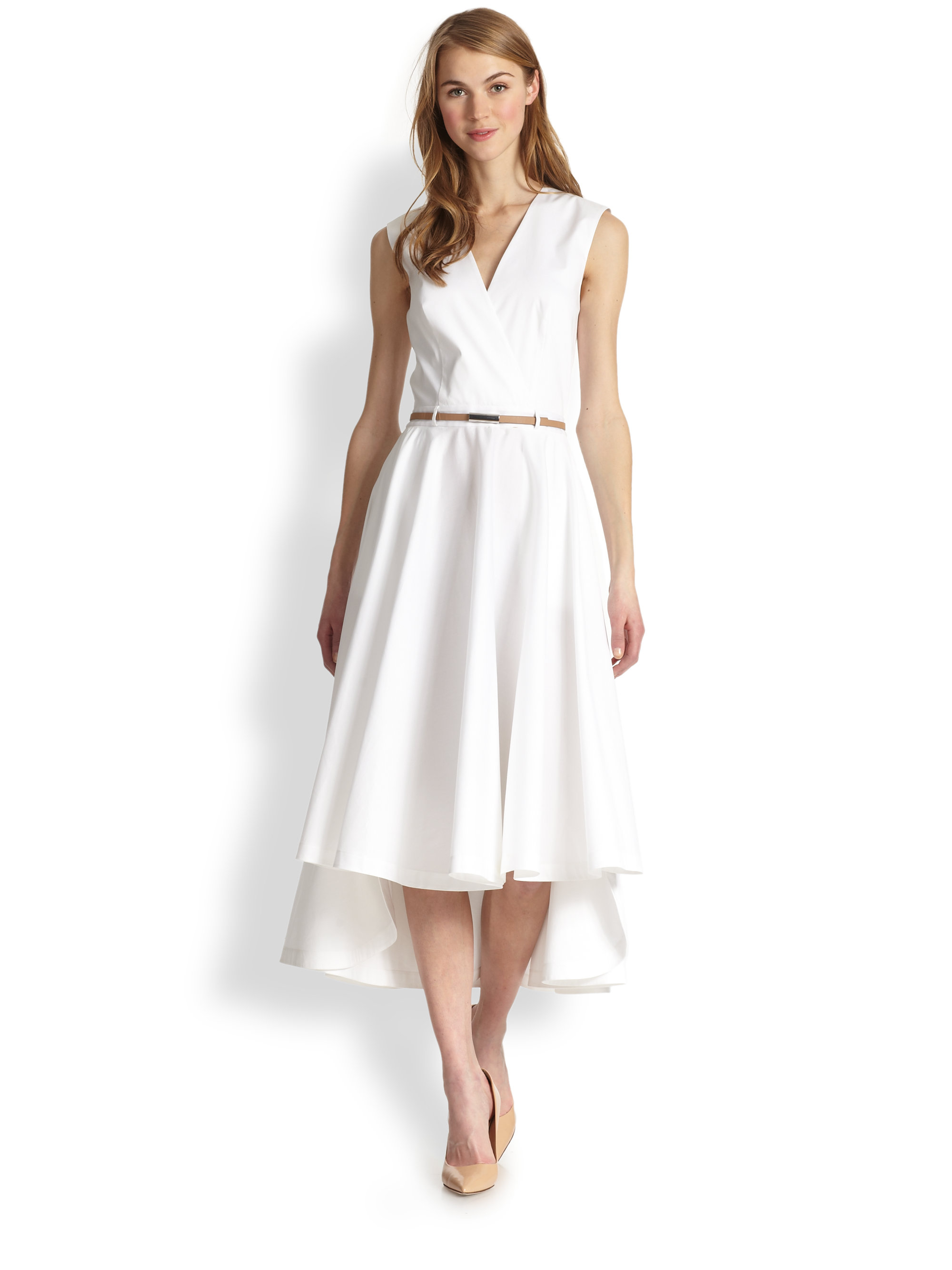 robert rodriguez belted open back midi dress in white lyst
