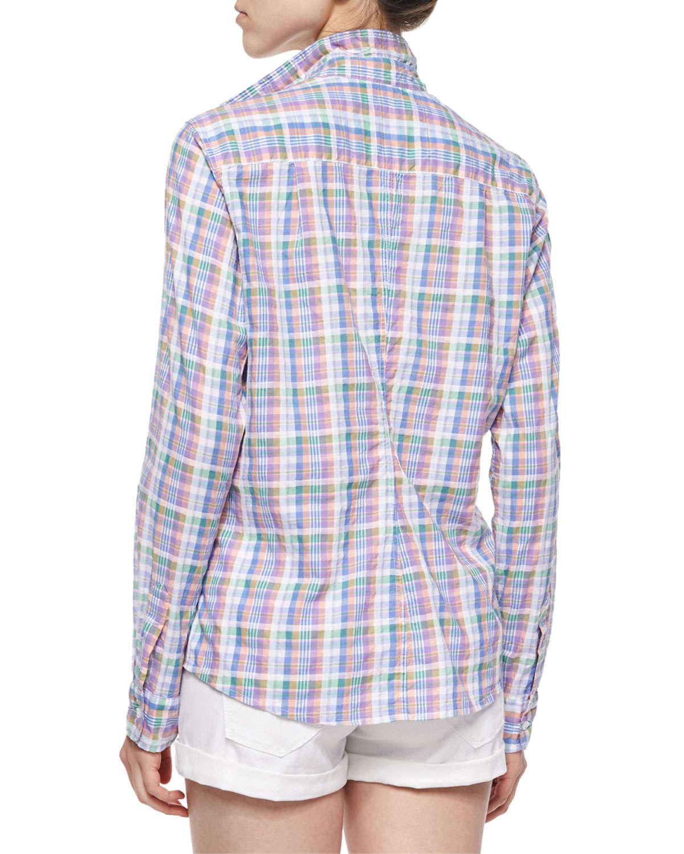 lyst frank eileen barry long sleeve plaid cotton shirt in purple for men. Black Bedroom Furniture Sets. Home Design Ideas