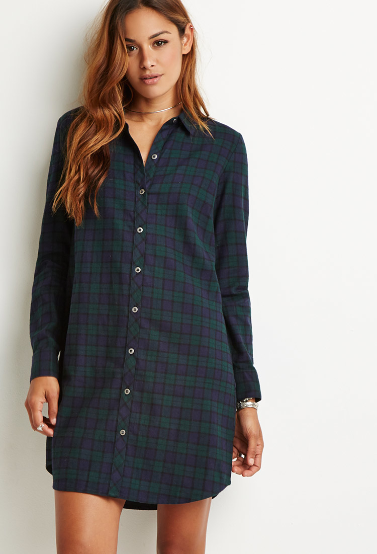 New Plaid Shirt Dress For Women Detail At Collar And By BWGstudios