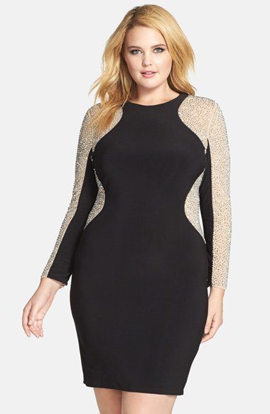 e5d88edf9dd Xscape Beaded Illusion Sleeve Jersey Body-con Dress in Natural - Lyst