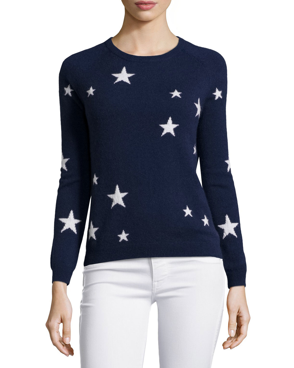 Neiman marcus Cashmere Star-print Sweater in Blue | Lyst
