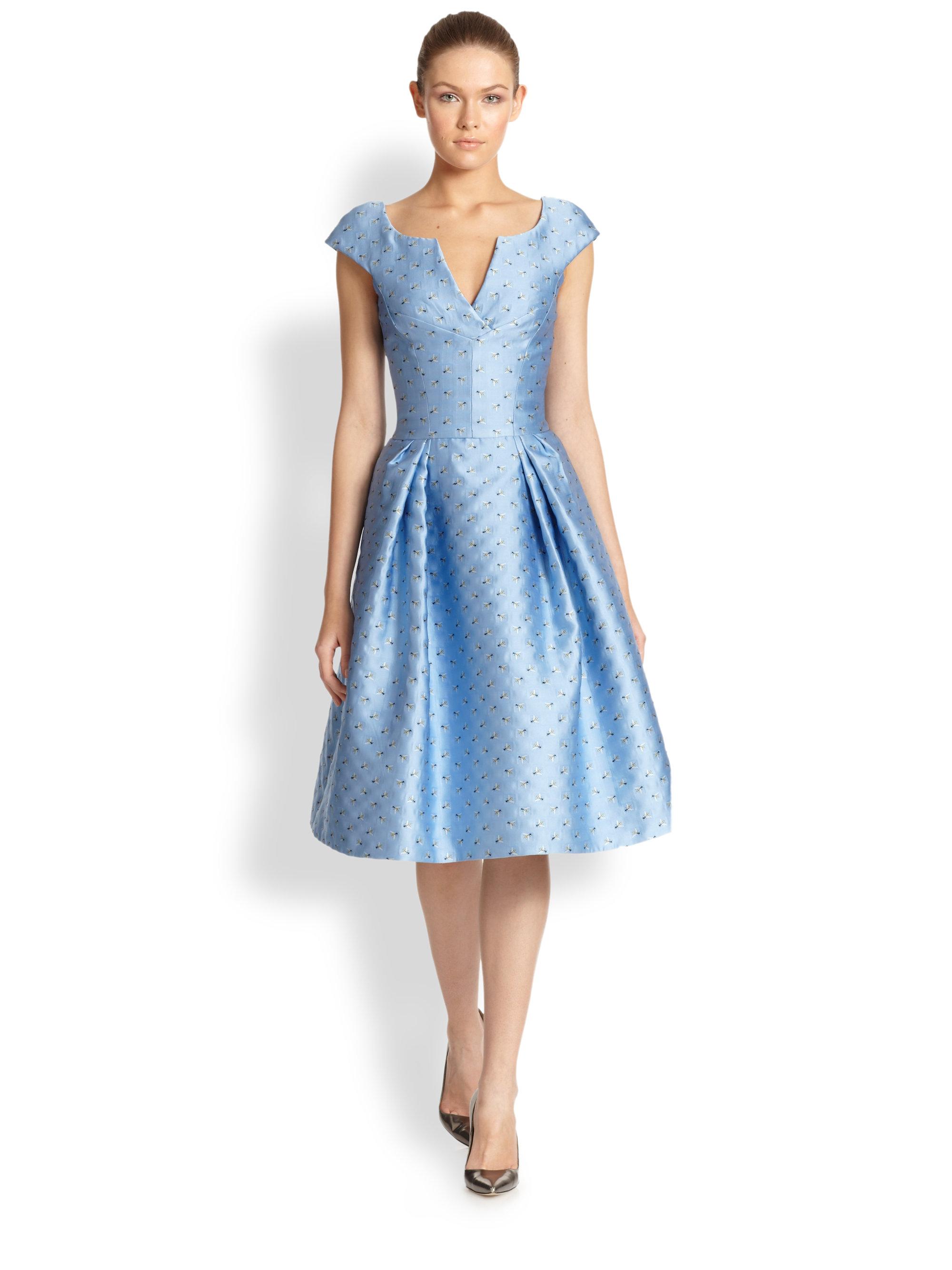 a0c3b6548ac Carolina Herrera Bee Jacquard Cocktail Dress in Blue - Lyst