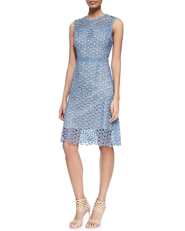 9451ca89 Elie Tahari Ophelia Sleeveless Lace Overlay Dress in Gray - Lyst