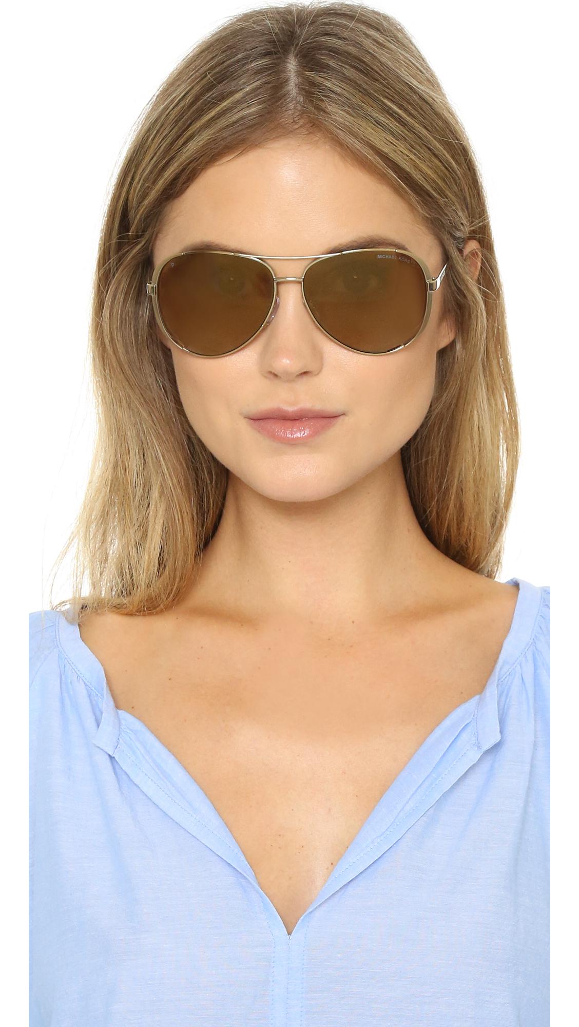 Lyst Michael Kors Chelsea Polarized Sunglasses Gold