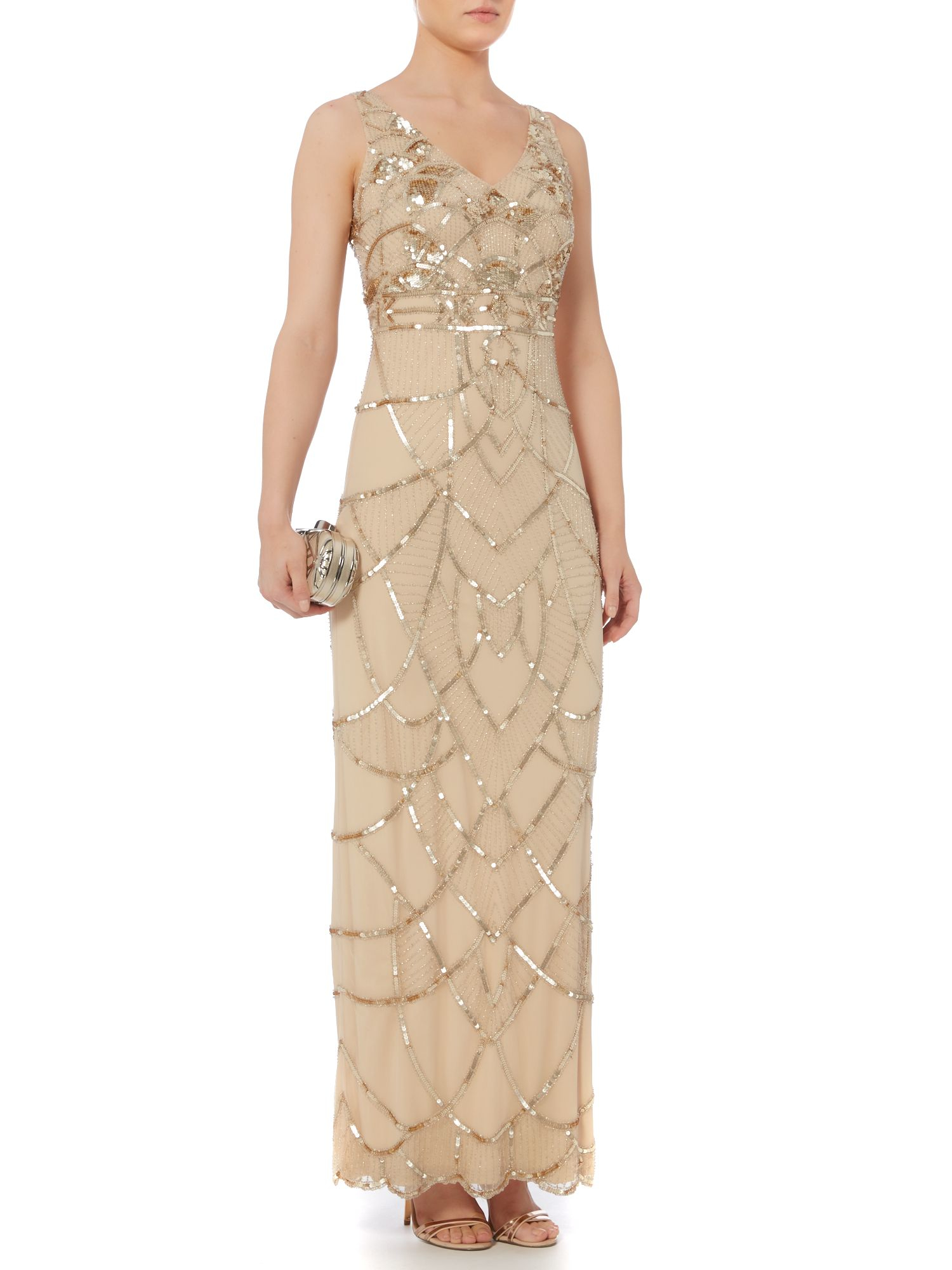 Biba Art Deco Inspired Fully Beaded Maxi Dress in Natural  Lyst