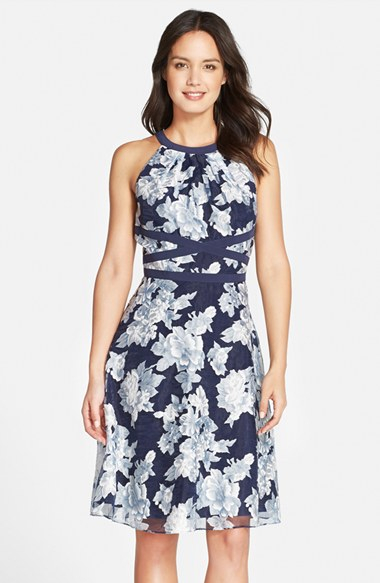 Lyst Adrianna Papell Floral Organza Fit Amp Flare Dress In