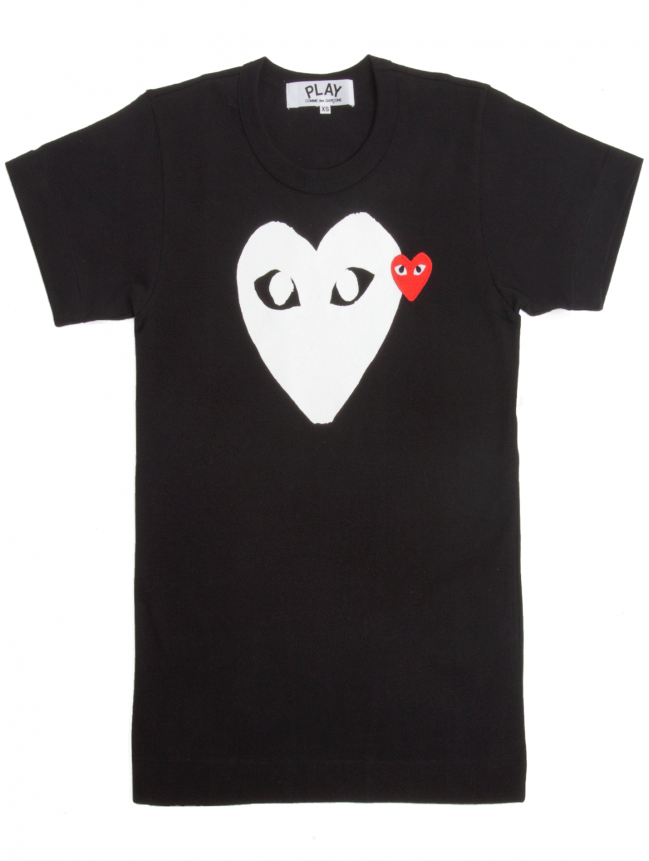 Comme Des Gar Ons Play Mens White Heart Logo T Shirt Black