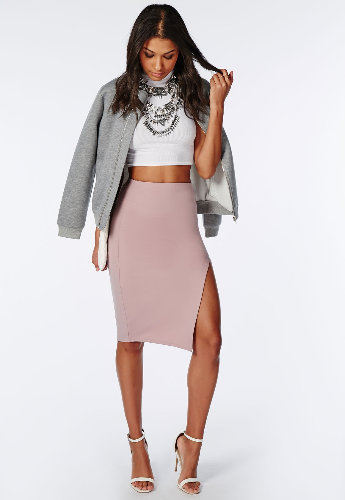 Missguided Thigh High Split Scuba Midi Skirt Mauve in Purple | Lyst