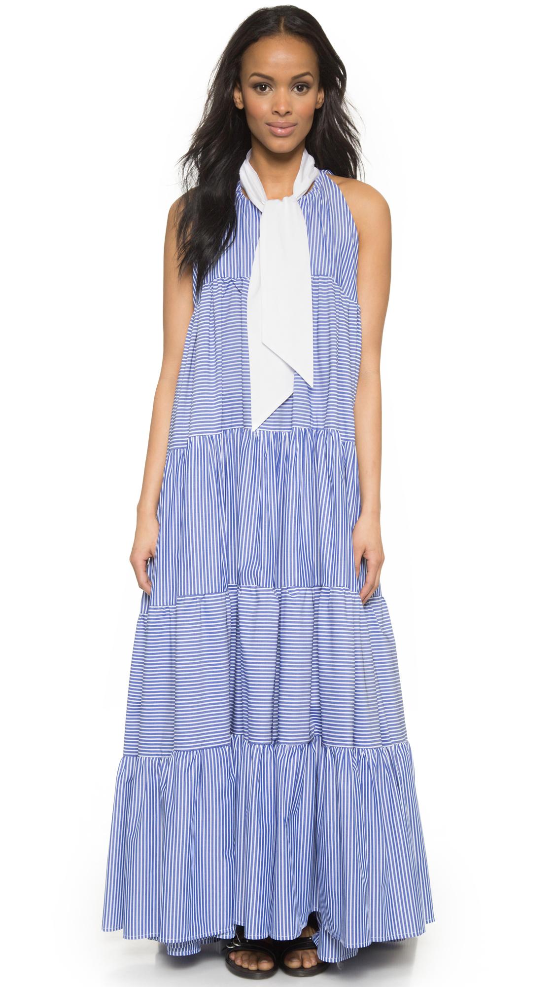Lyst Lisa Marie Fernandez Baby Doll Maxi Dress Navy Stripe in Blue