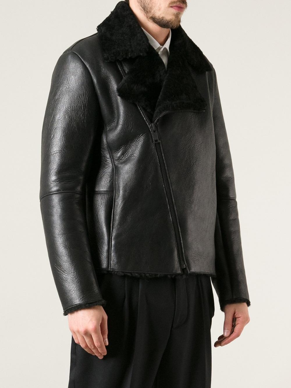 garderobe shearling jacket in black for men lyst