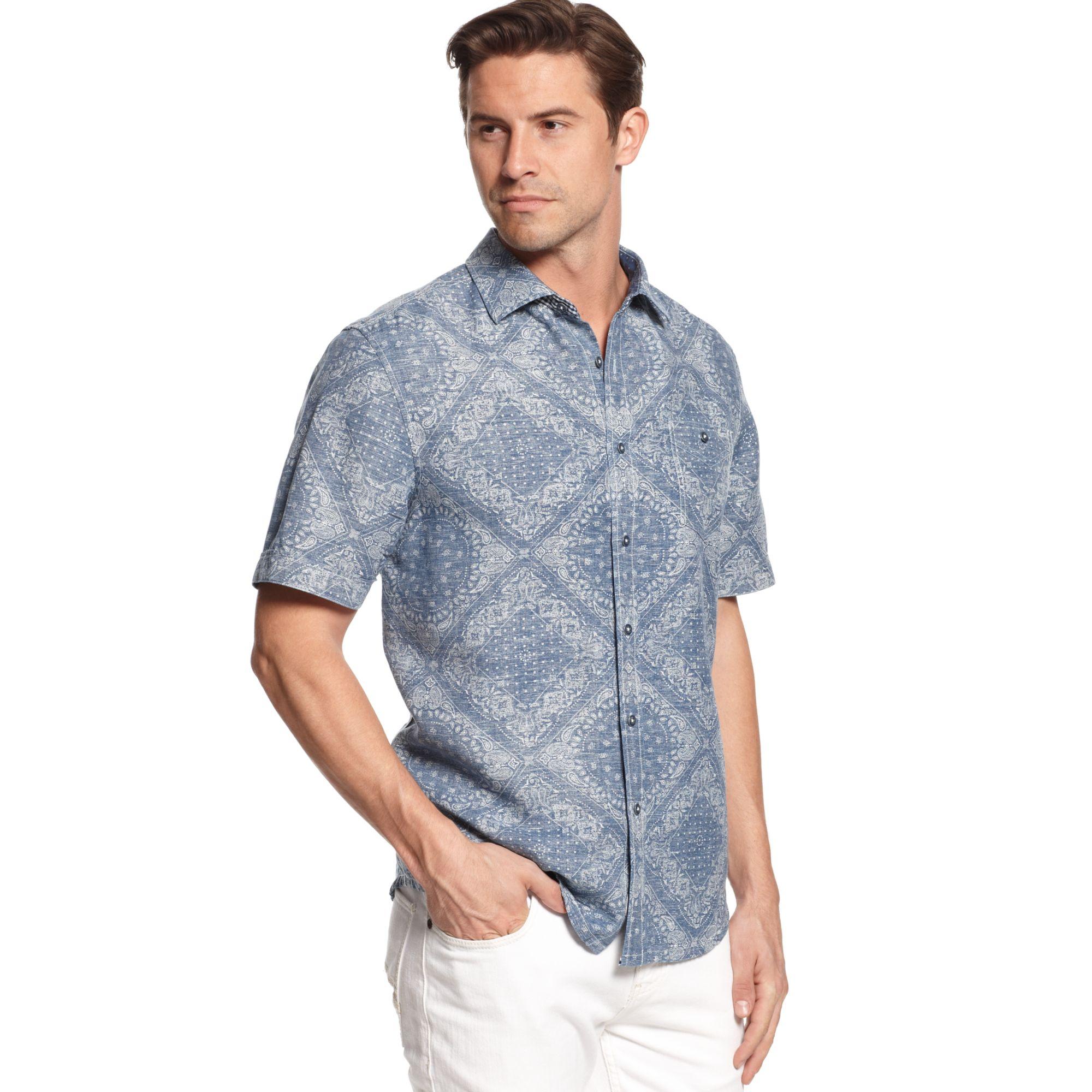 Tommy Bahama Bandana Stand Print Linenblend Shirt In Blue