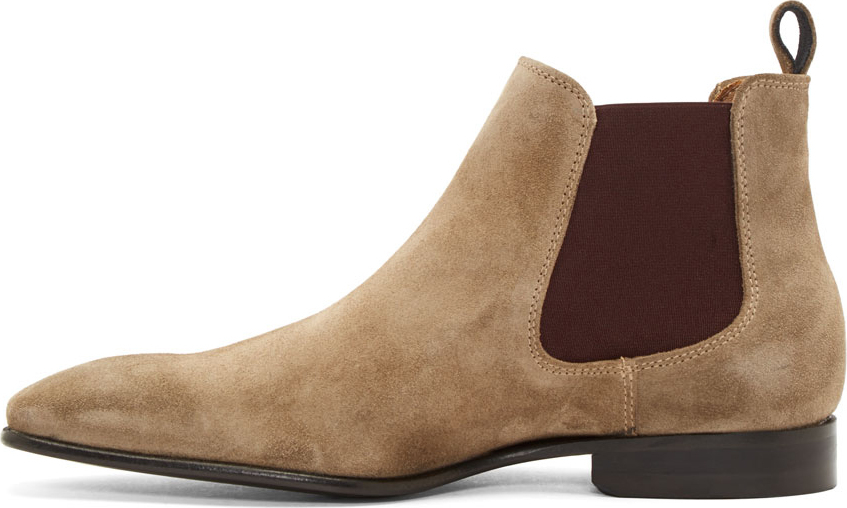 de1448e7ffea Lyst - PS by Paul Smith Ecru Suede Falconer Chelsea Boots in Brown ...
