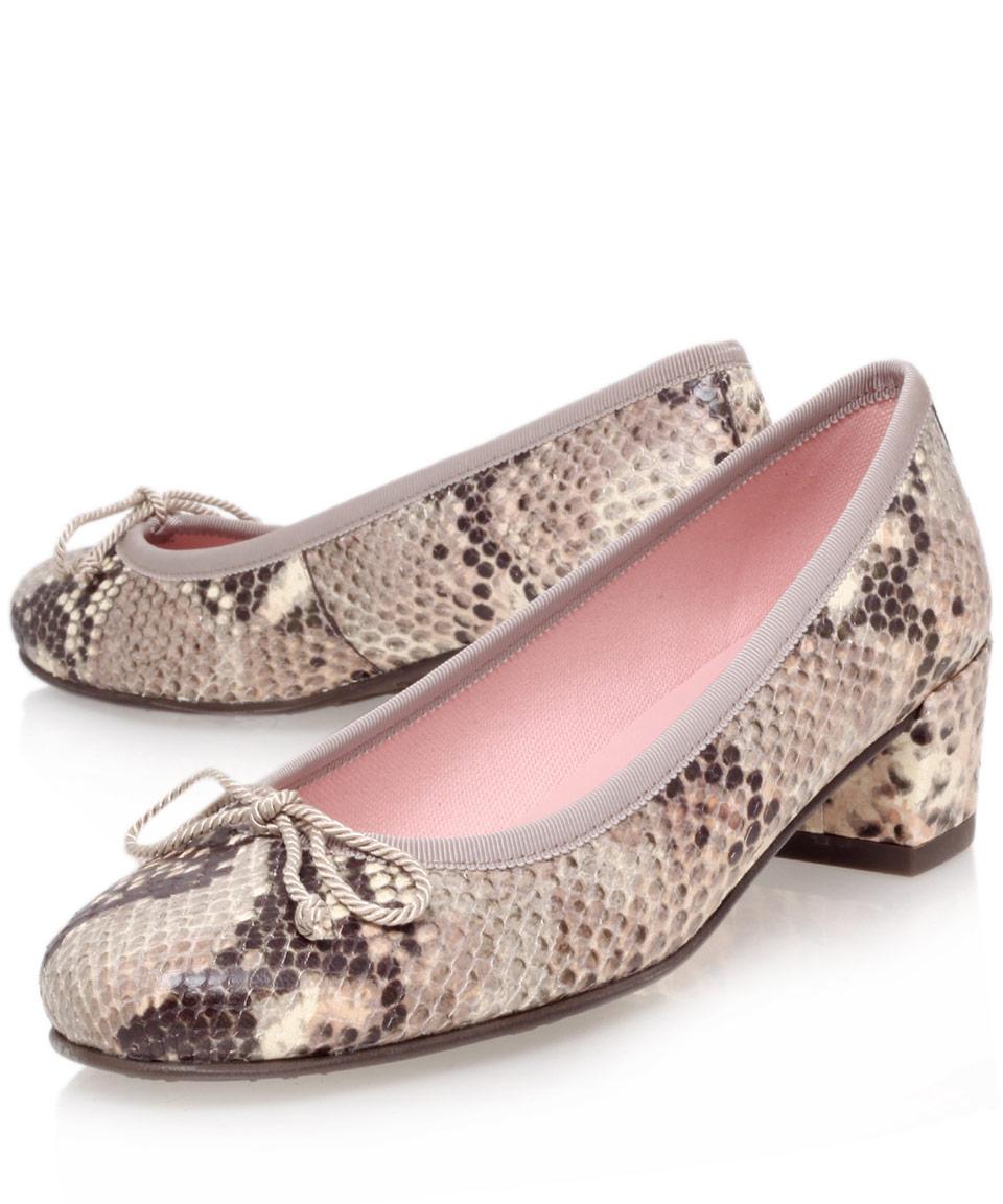 Pretty ballerinas Snake Print Block Heel Court Shoes