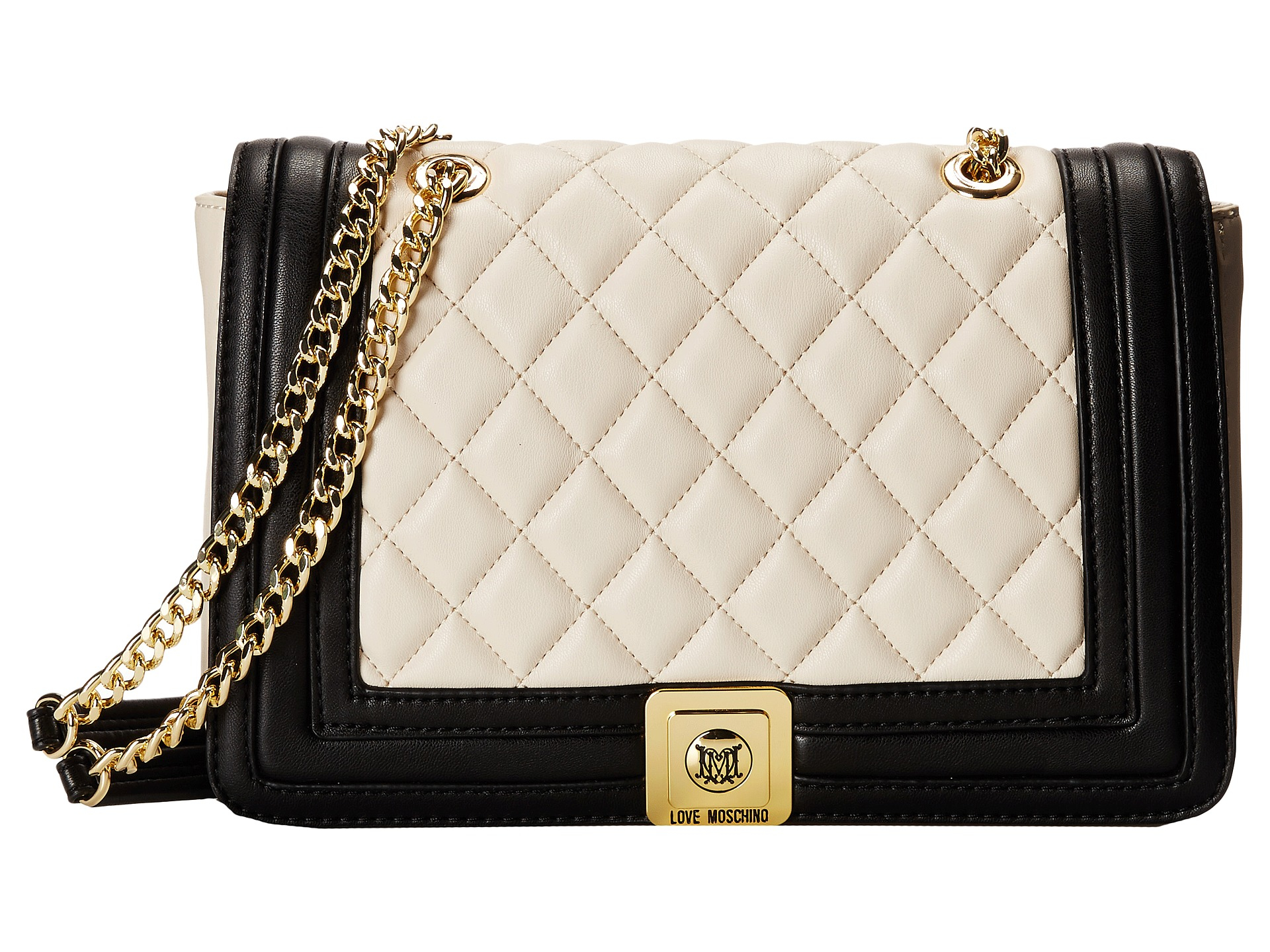 2dcde760264ad Lyst - Love Moschino Quilted Flap Vers Crossbody Bag in Natural