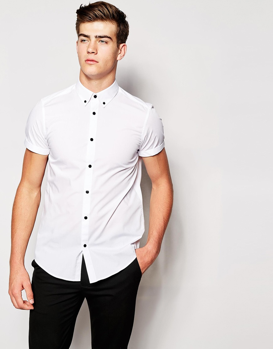 78069fd8a06c ASOS Smart Shirt In Short Sleeve With Contrast Buttons And Button ...