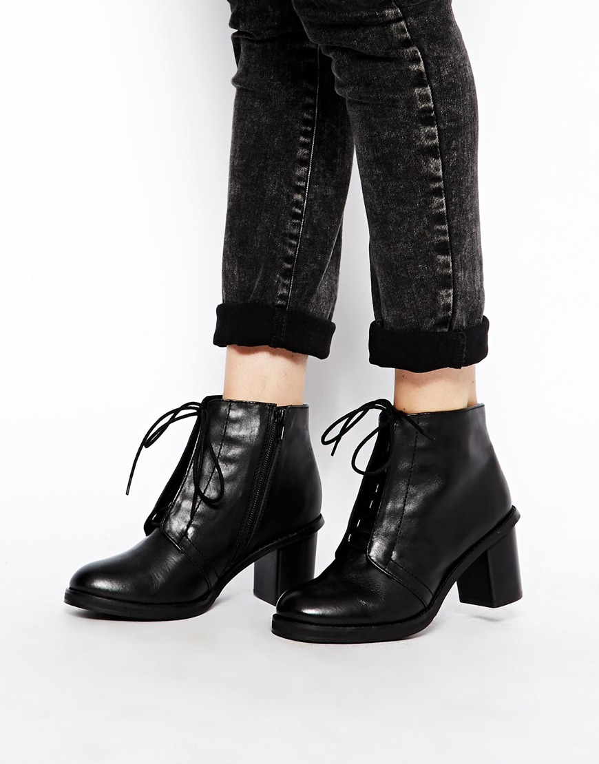 Asos Rapture Leather Lace Up Ankle Boots in Black | Lyst
