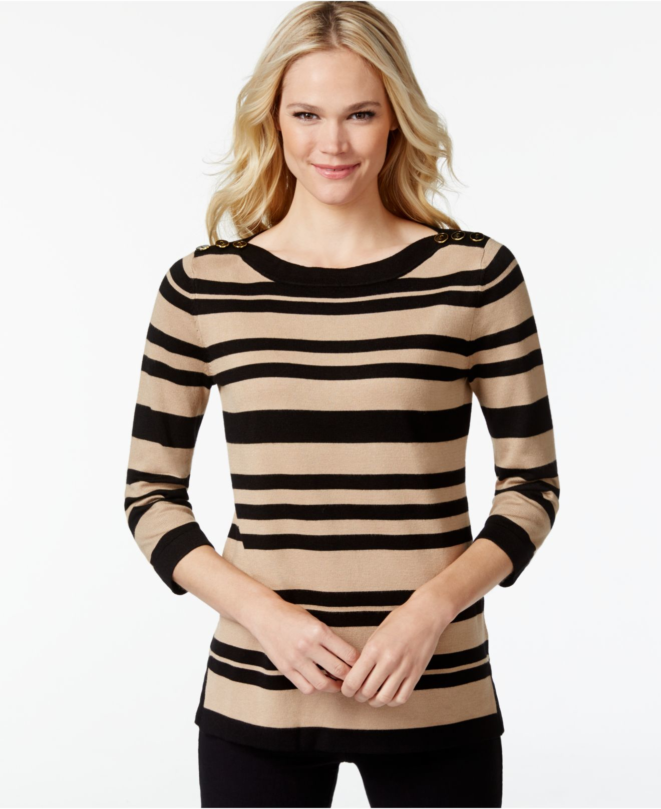 Lyst - Cable & Gauge Striped Button-shoulder Sweater in Natural