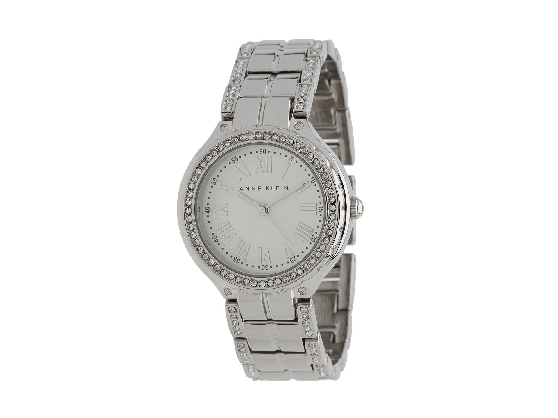 Anne klein ak swarovski crystal accented silvertone bracelet watch in silver lyst for Anne klein swarovski crystals