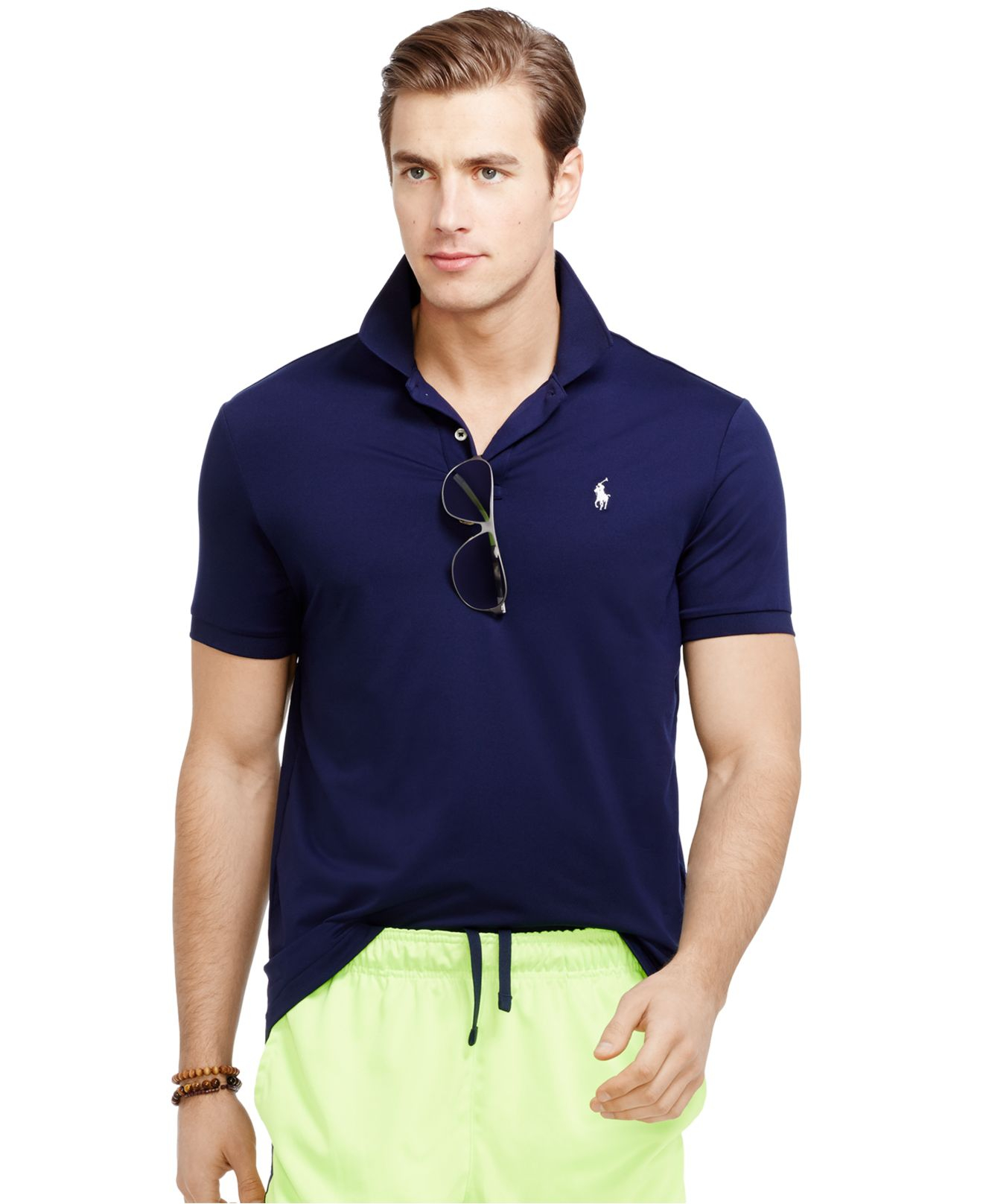 Polo ralph lauren performance polo shirt in blue for men Man in polo shirt