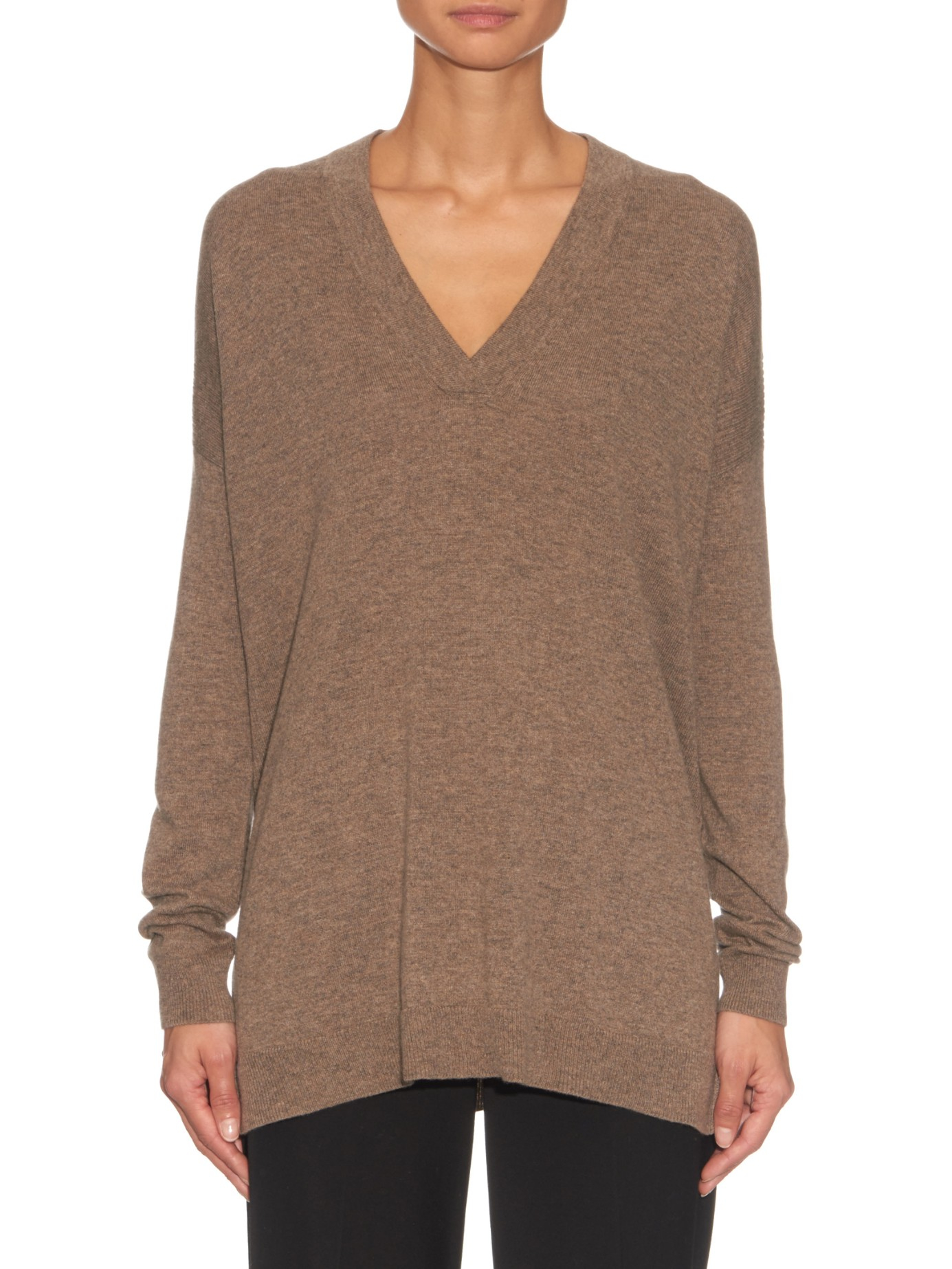 Vince V-neck Ribbed-knit Cashmere Sweater in Brown | Lyst