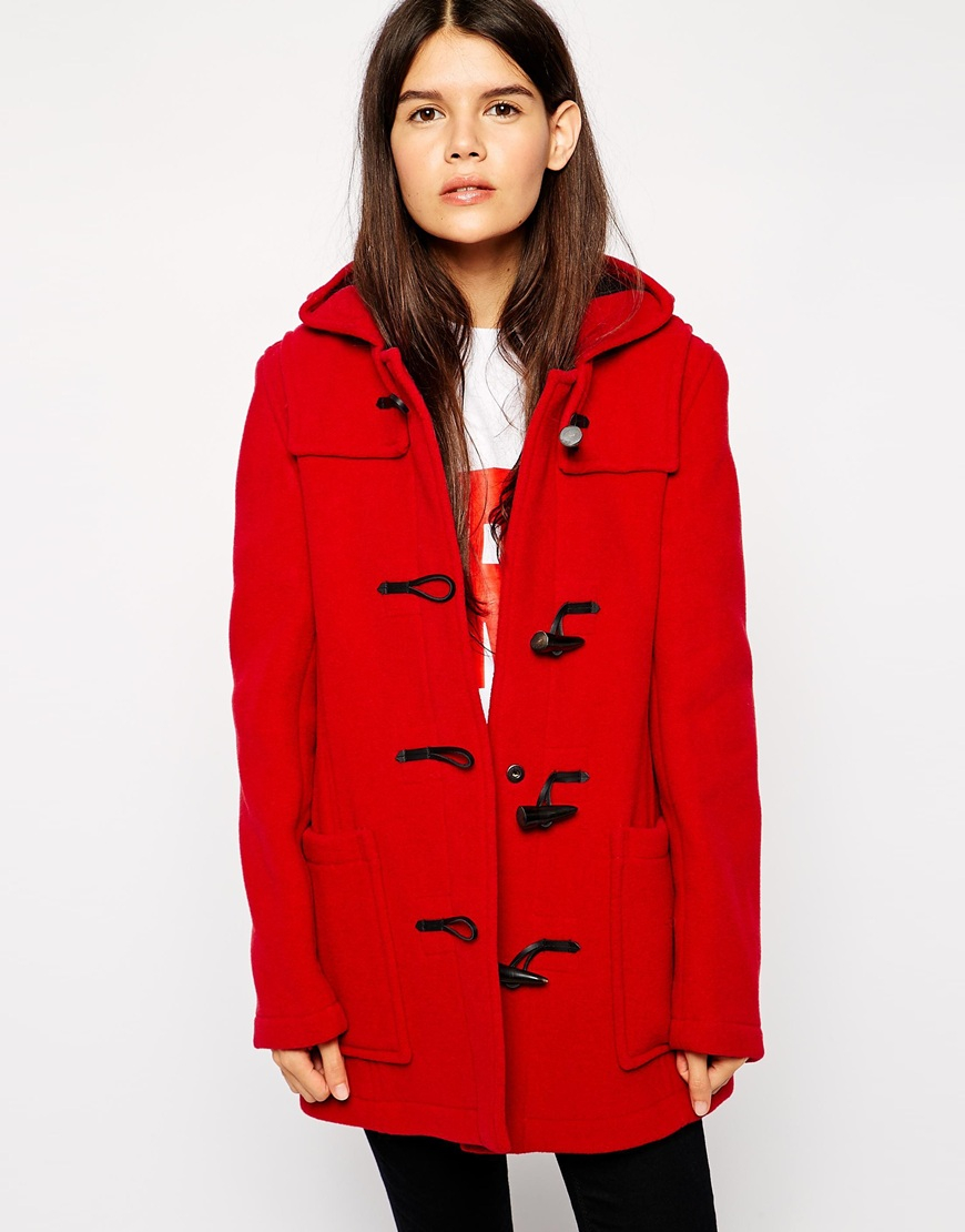 Gloverall Swing Duffle Coat in Red | Lyst