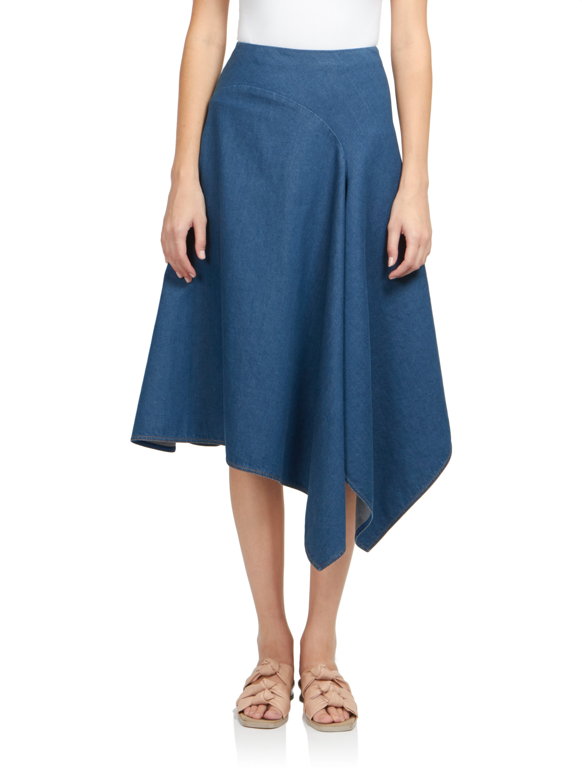 stella mccartney asymmetrical denim skirt in blue lyst