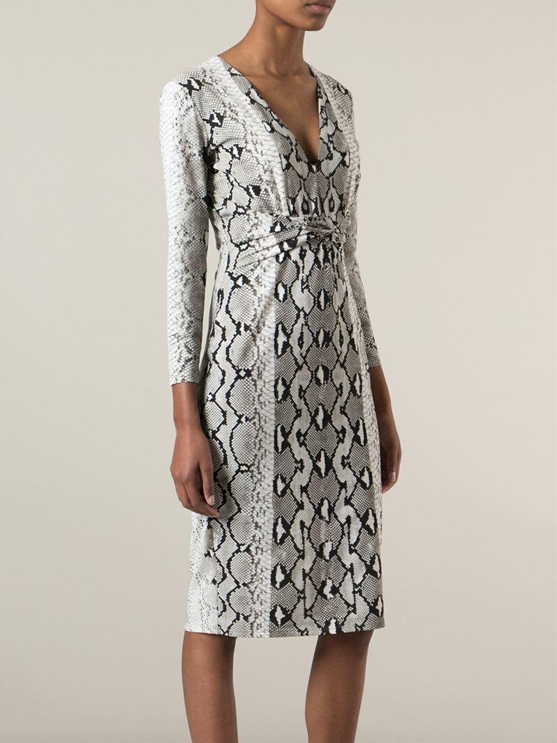 78f7af00db Lyst - Roberto Cavalli Snake Skin Printed Dress in White