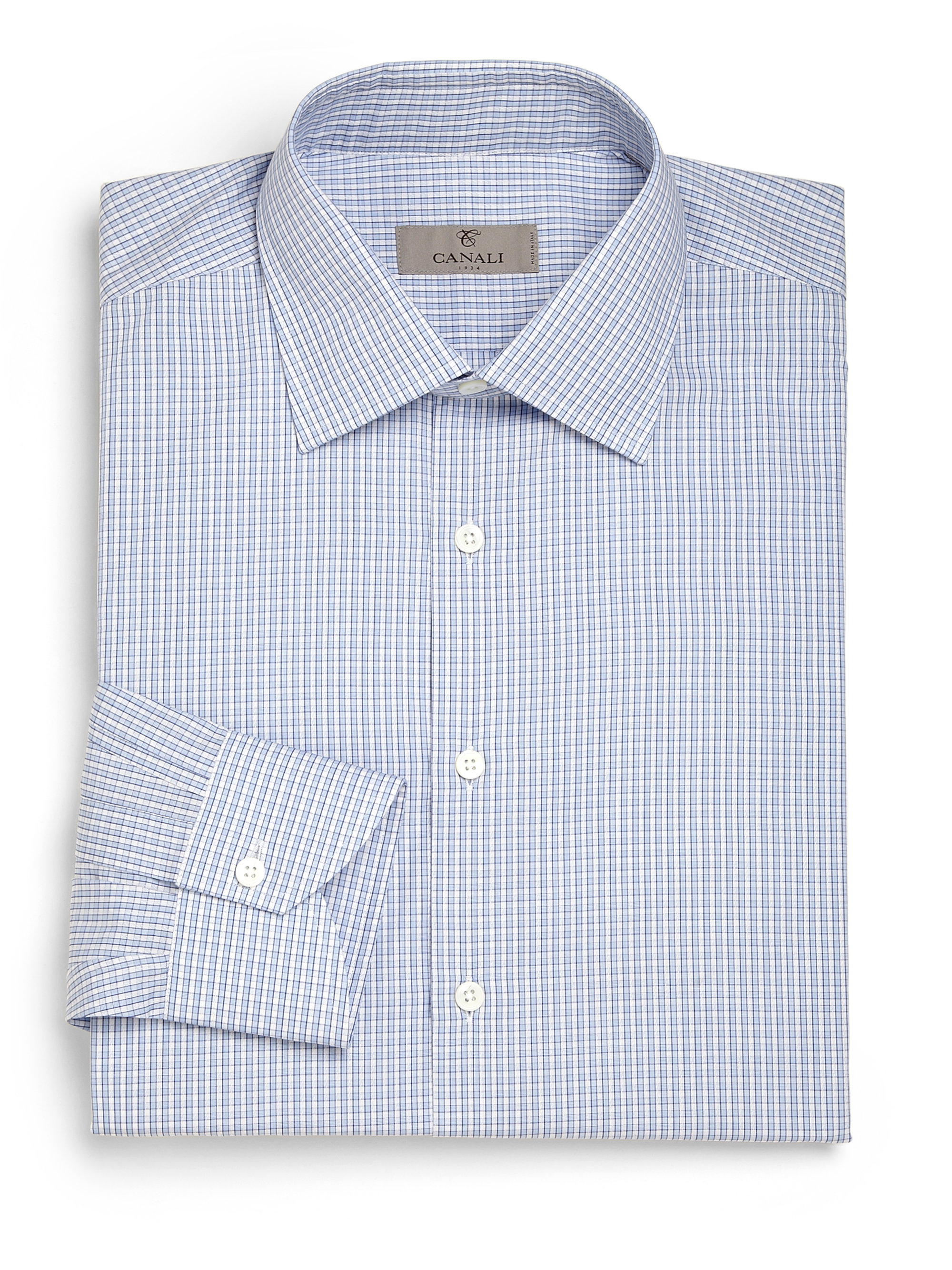 Canali modern fit checked dress shirt in blue for men lyst for Modern fit dress shirt
