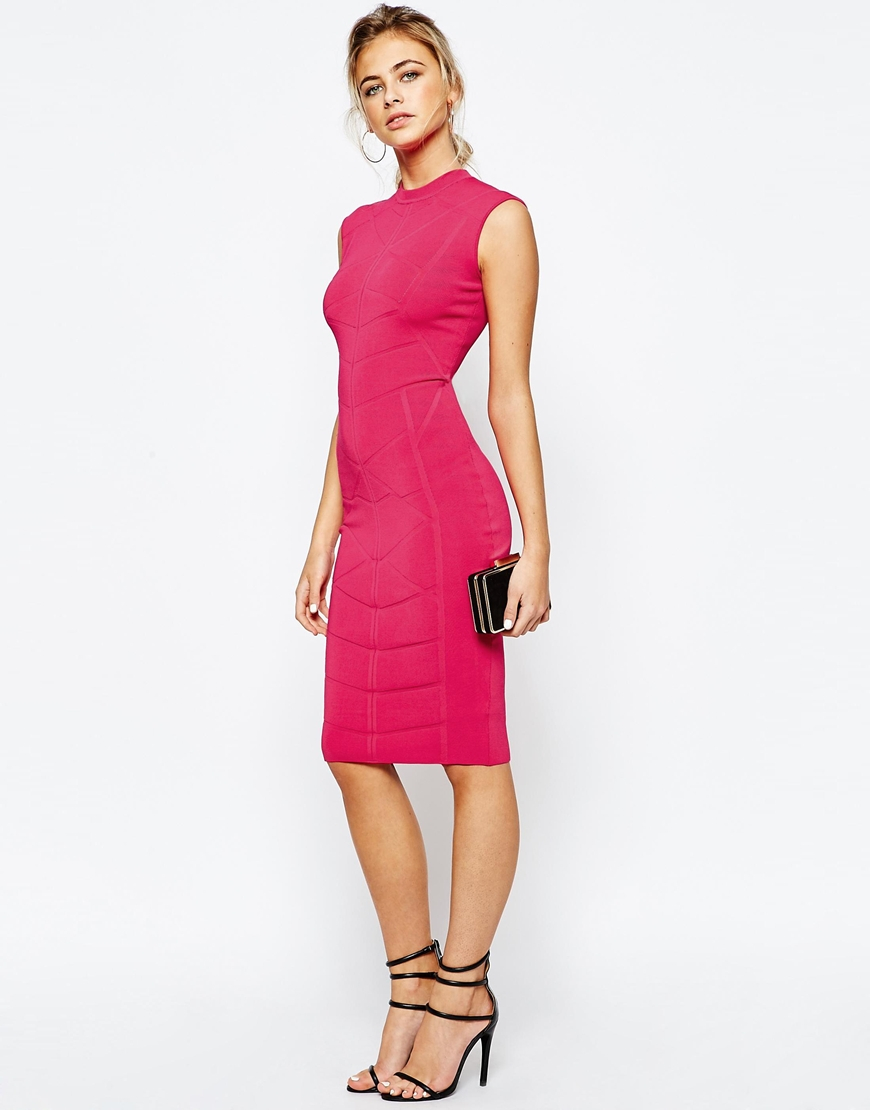 Lyst Ted Baker Bodycon Jaquard Knitted Dress In Pink