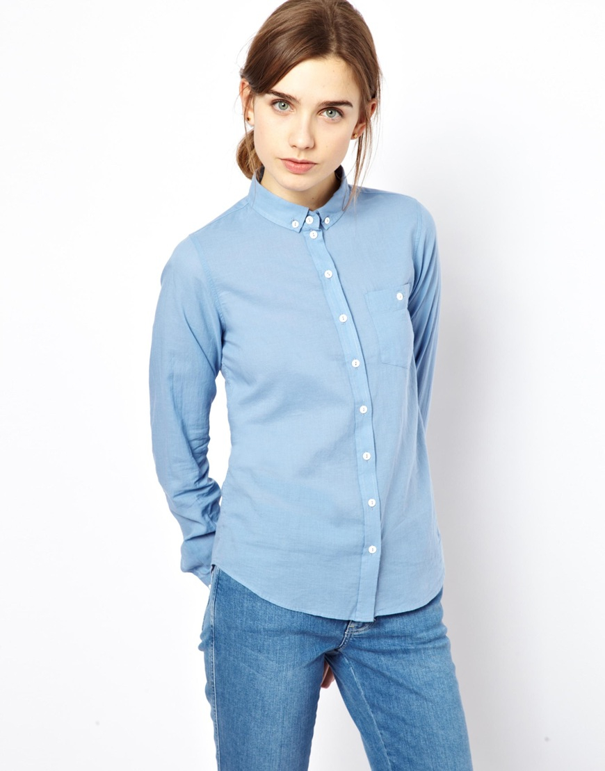 4e2f3036 Lyst - M.i.h Jeans The Shrunken Button Down Shirt in Blue