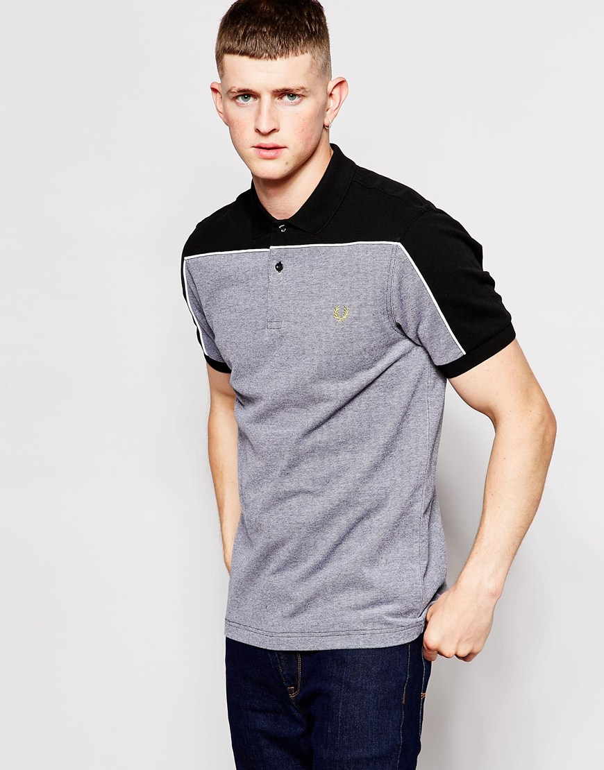 Lyst - Fred Perry Polo Shirt With Block Color Shoulders in ...