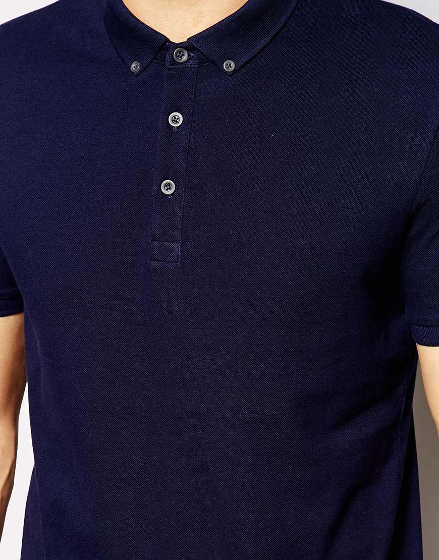 Asos Polo Shirt In Navy Pique With Button Down Collar In