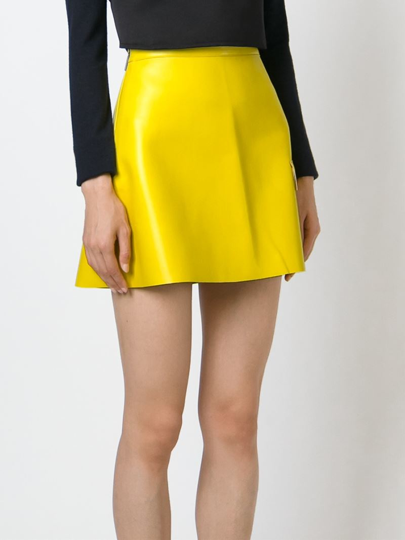 Msgm Patch Pocket Faux Leather Skirt in Yellow | Lyst