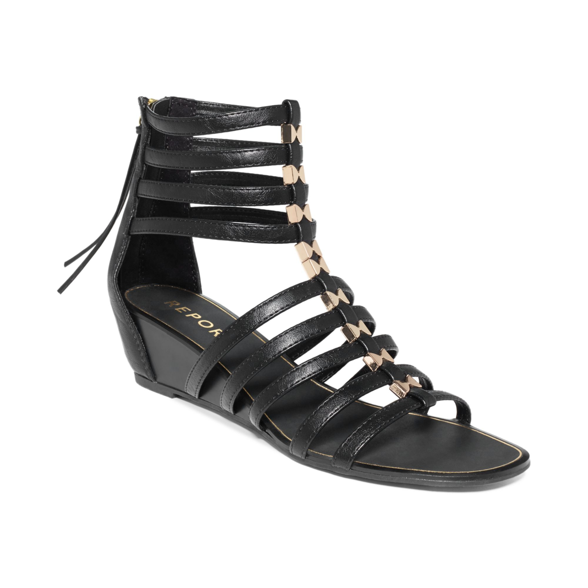 Report Megan Gladiator Wedge Sandals in Black | Lyst