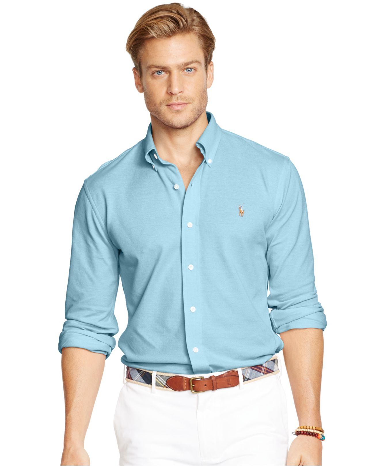polo ralph lauren oxford piqu sport shirt in blue for men lyst. Black Bedroom Furniture Sets. Home Design Ideas