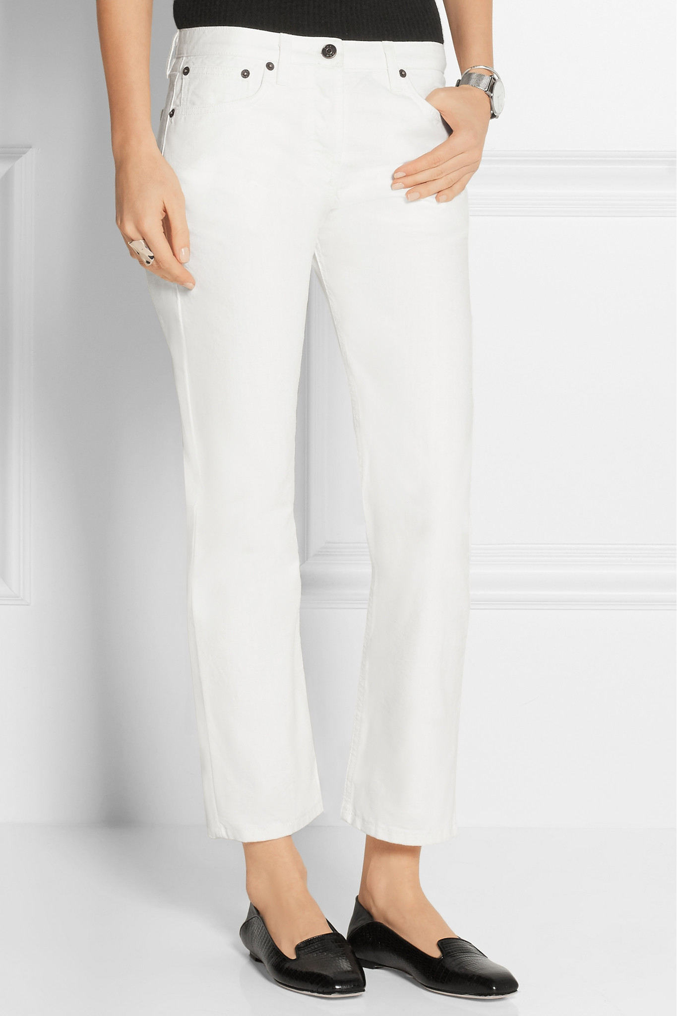 cc5633f6b930 The Row Ashland Cropped High-rise Straight-leg Jeans in White - Lyst