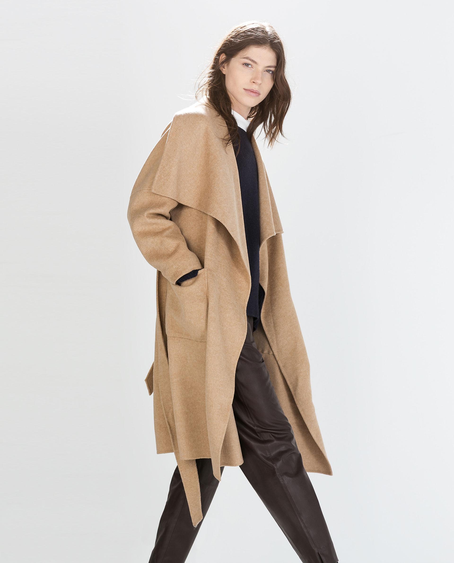 Zara Long Coat In Beige Camel Lyst