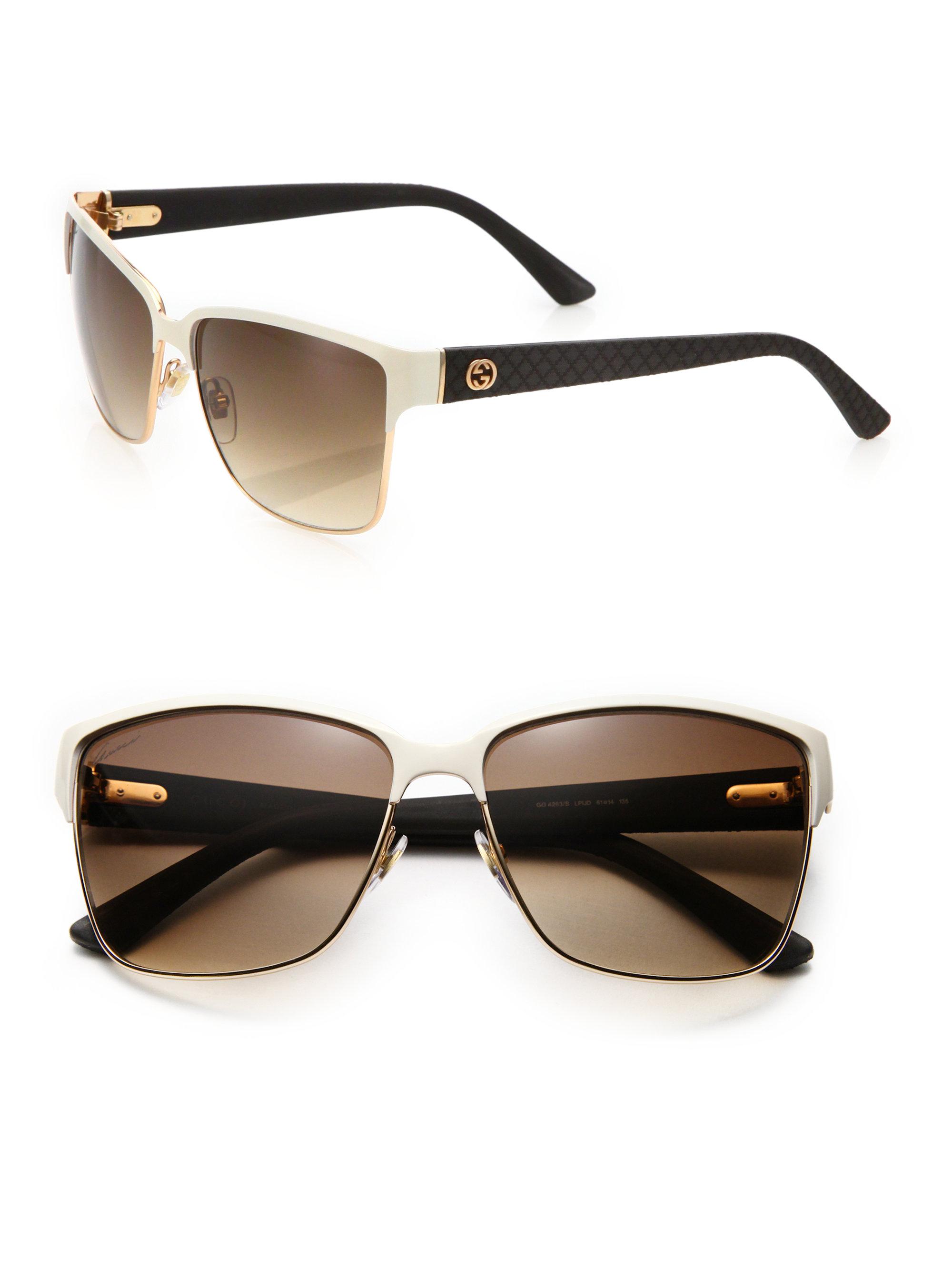 Gucci Square Sunglasses  gucci oversized 60mm square sunglasses in white lyst