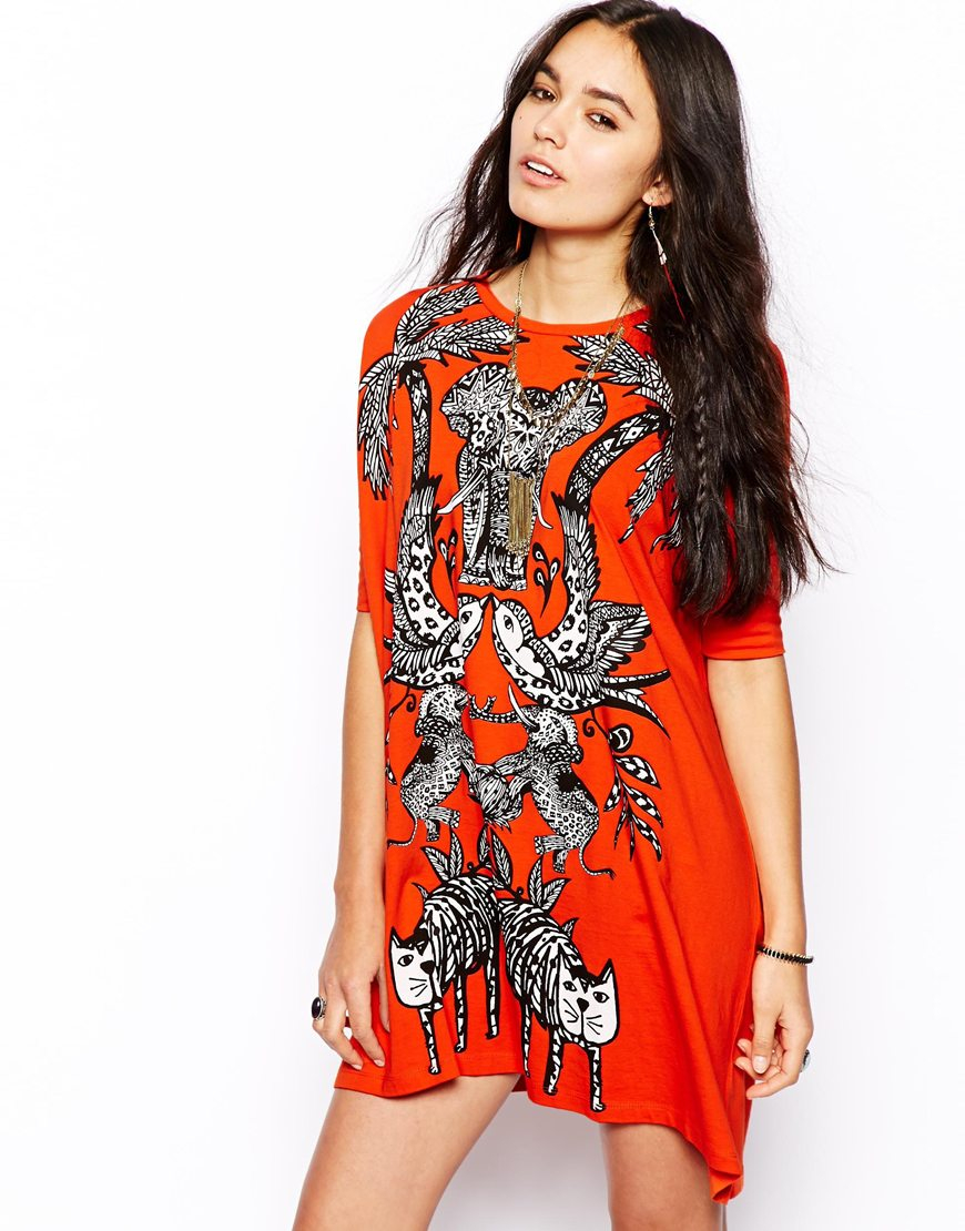 Asos T-Shirt Dress In Jungle Print in Red  Lyst