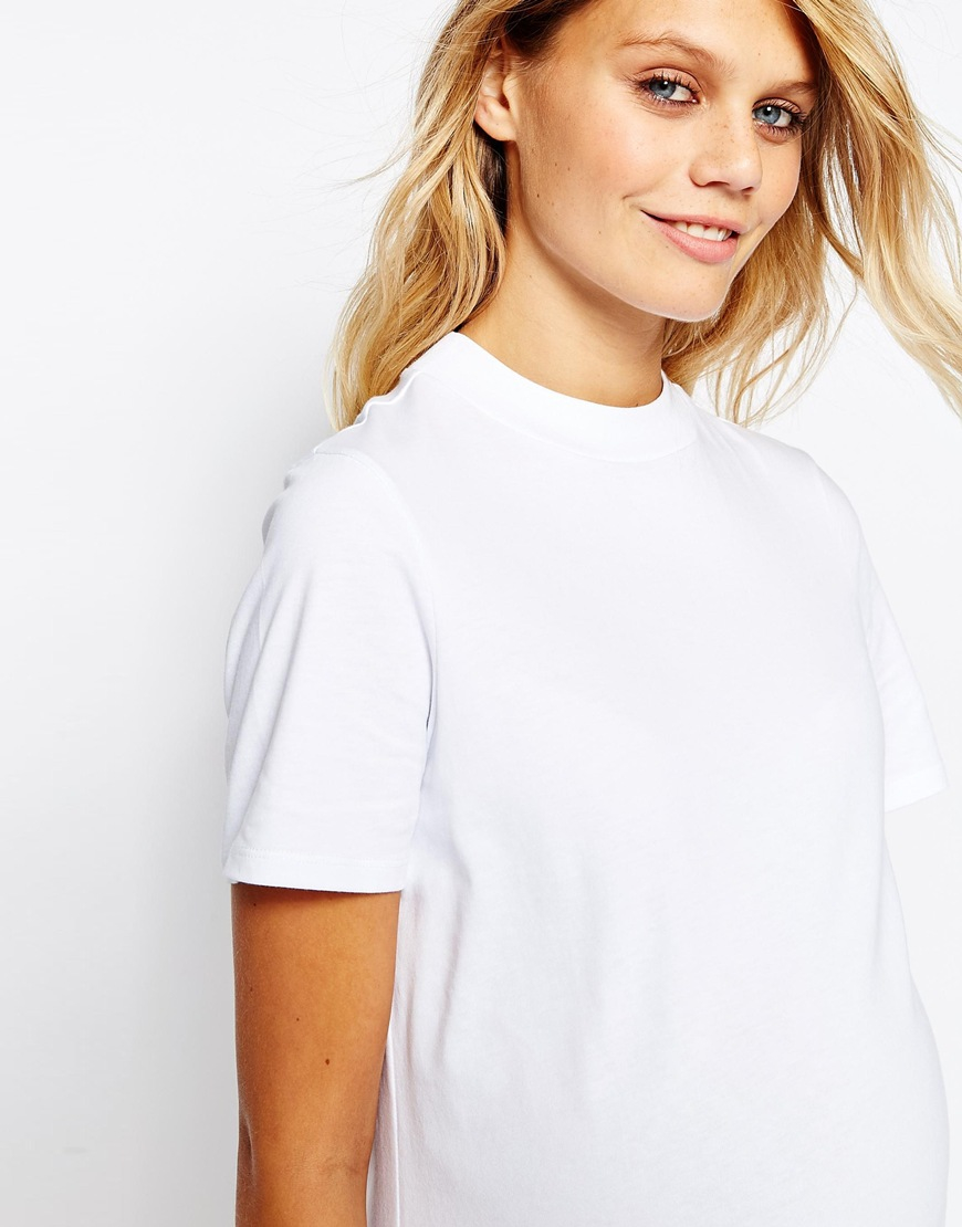 classic shoes search for latest special promotion ASOS White Maternity High Neck T Shirt Dress