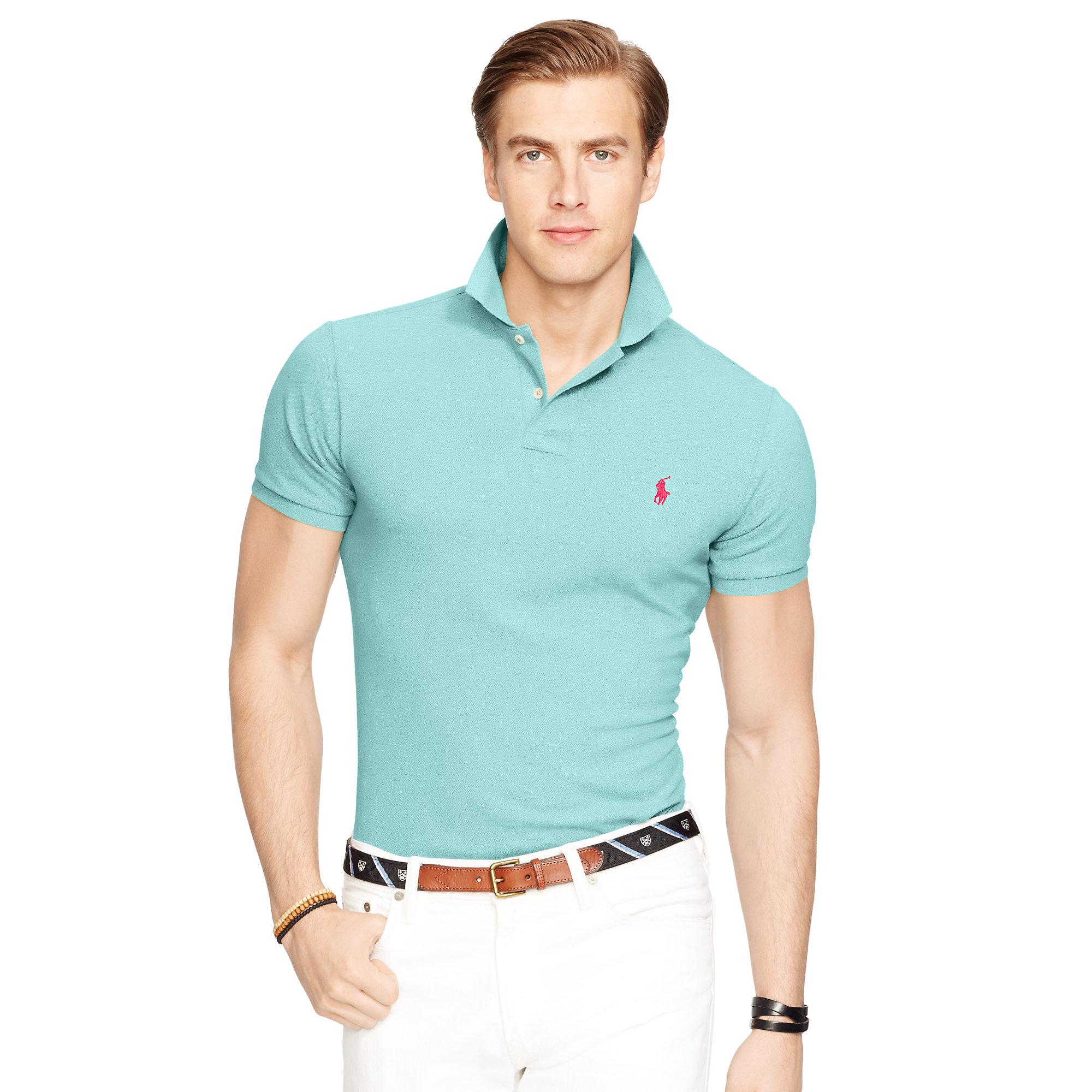 786b8ba9f7 Polo Ralph Lauren Slim-fit Mesh Polo Shirt in Blue for Men - Lyst