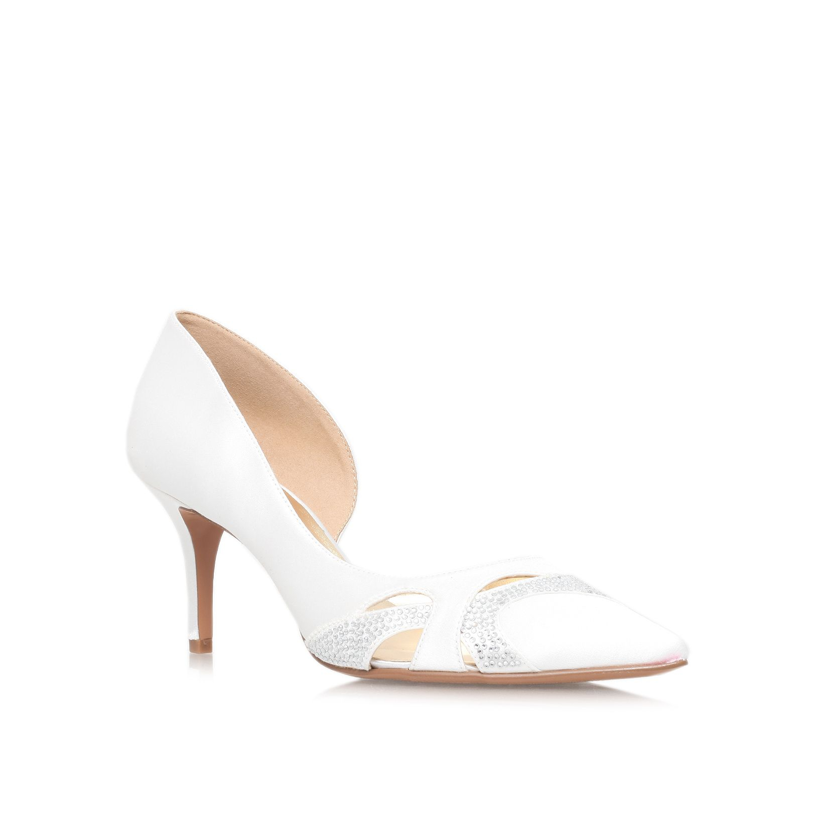 nine west kabarda2 mid heel court shoes in white lyst