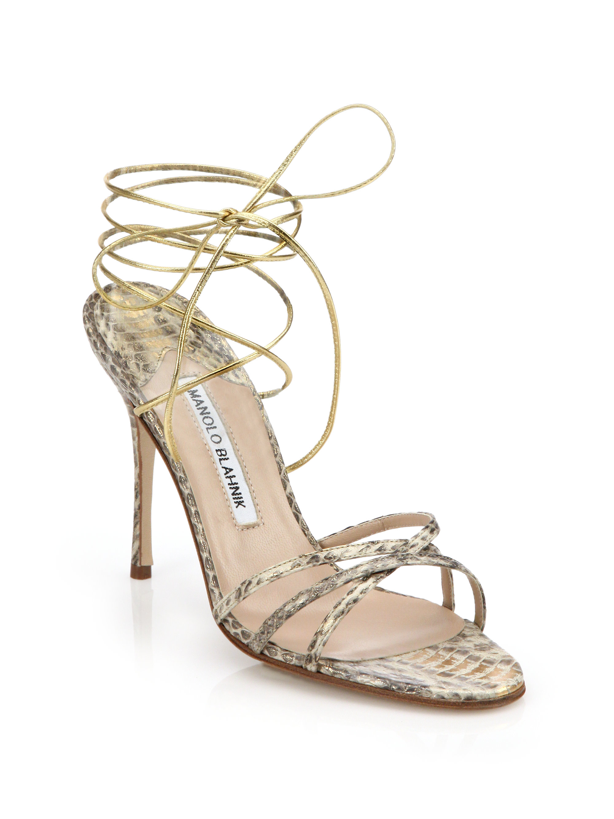 e4e3c14a8e87 ... coupon code lyst manolo blahnik leva snakeskin sandals in natural 66552  caaee