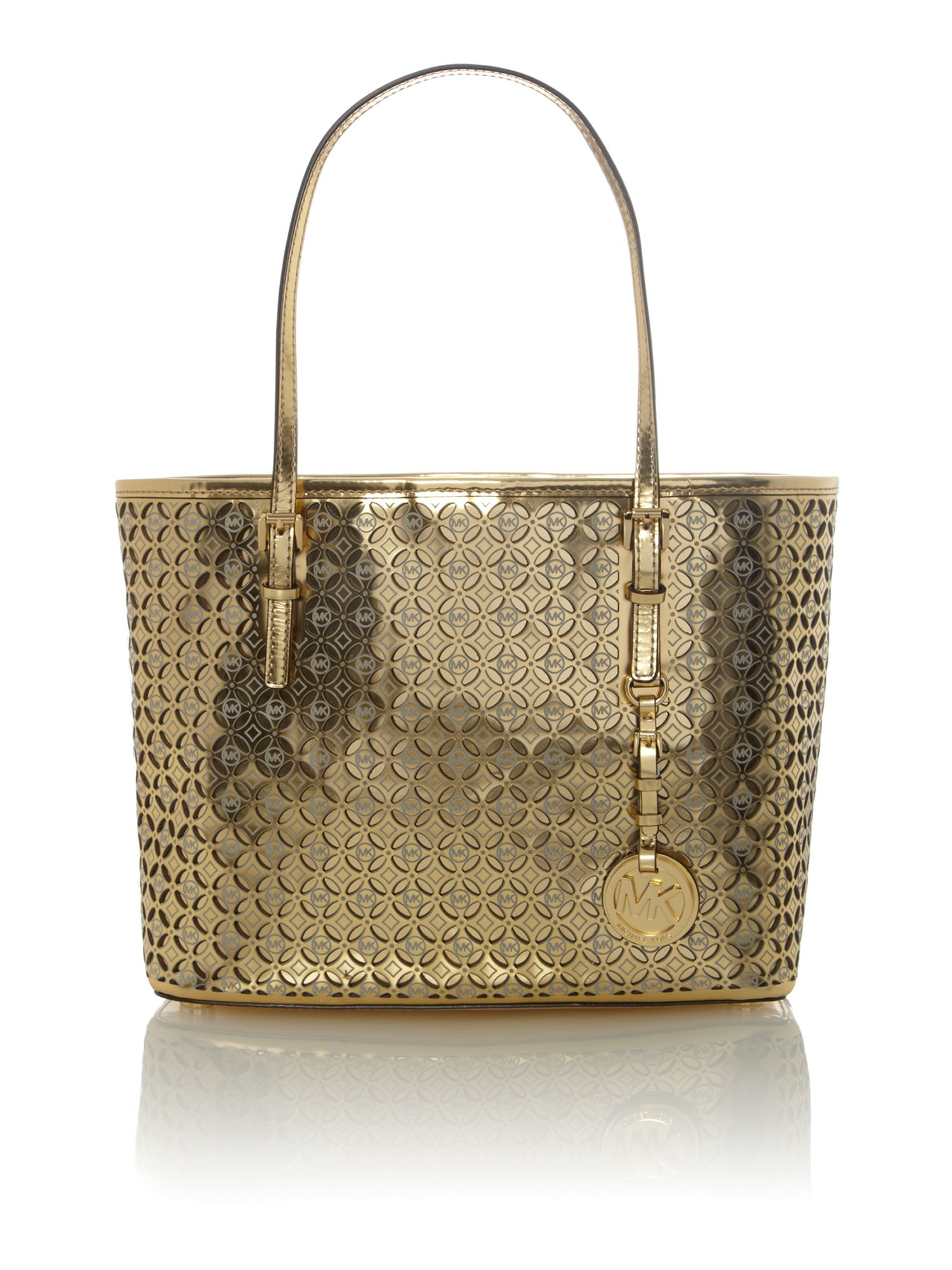michael kors flower perforated gold small tote bag in gold