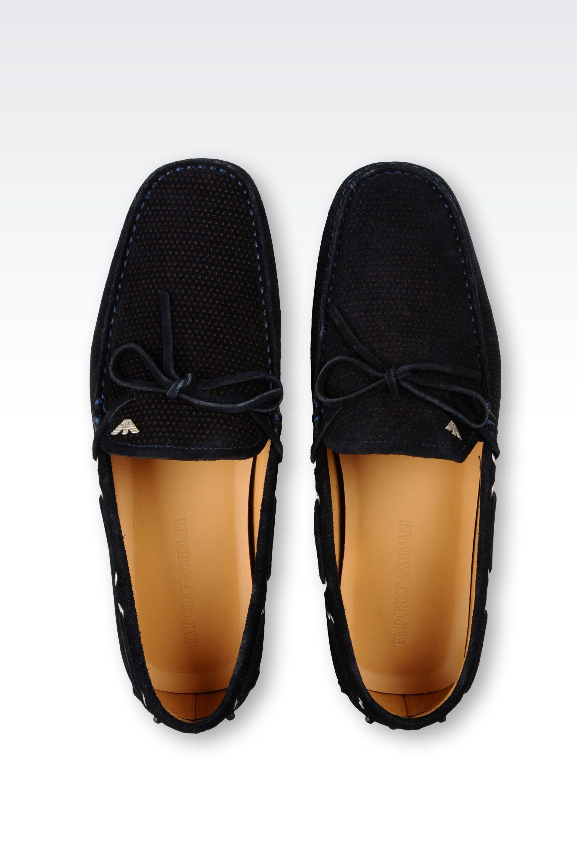 Armani Suede Moccasins Shoes Dark Blue