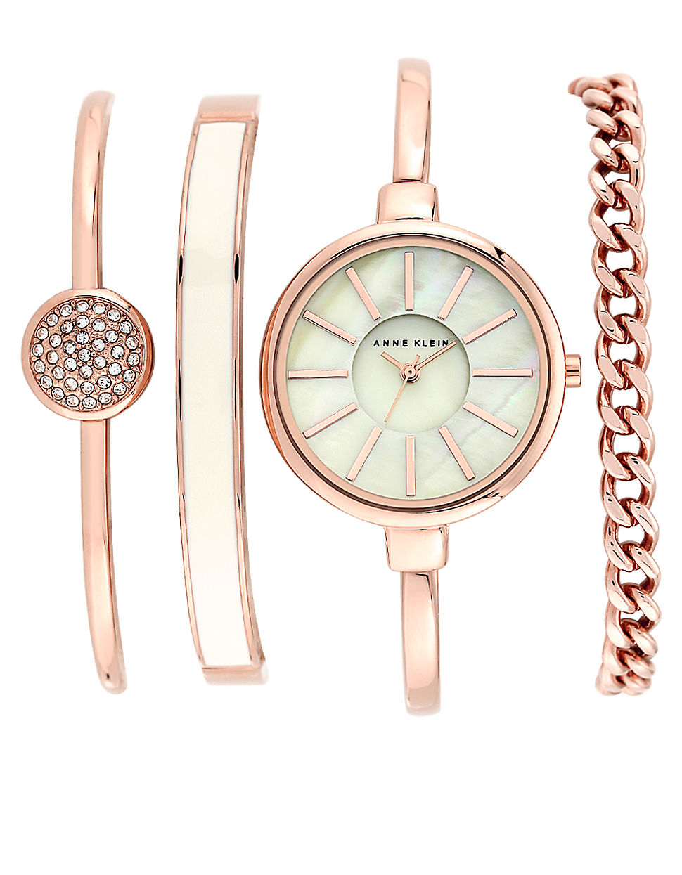 Mother of Pearl Goldtone Round Bracelet Watch - Women pics